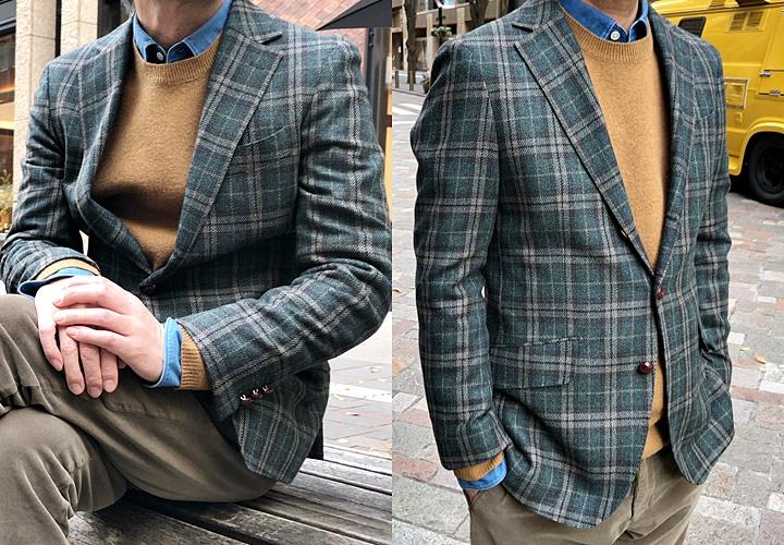 ジャケットとセーターのコーディネート,グリーンジャケット×Vネックセーター&クルーネックセーター