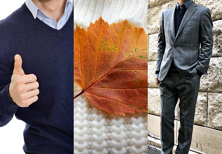 スーツとジャケット×セーターのコーディネート,オフのドレスカジュアルの着こなし