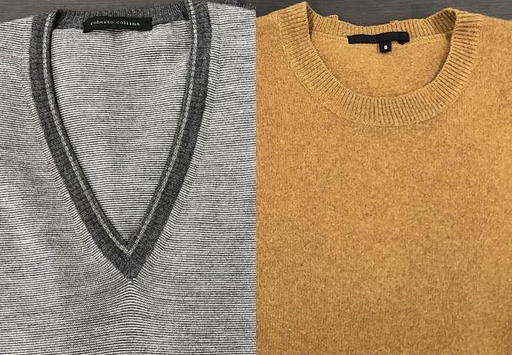 ニット(セーター)のデザイン,▲(左)Vネックセーター(右)丸首セーター▲