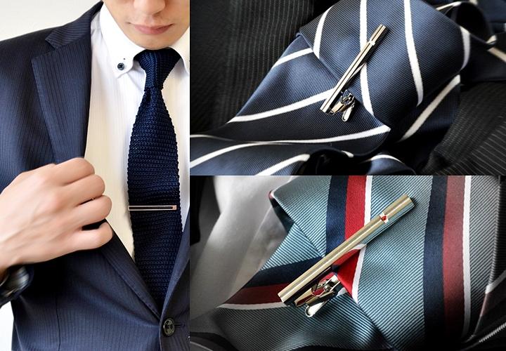 ネクタイの長さ,タイピンをしてネクタイを固定