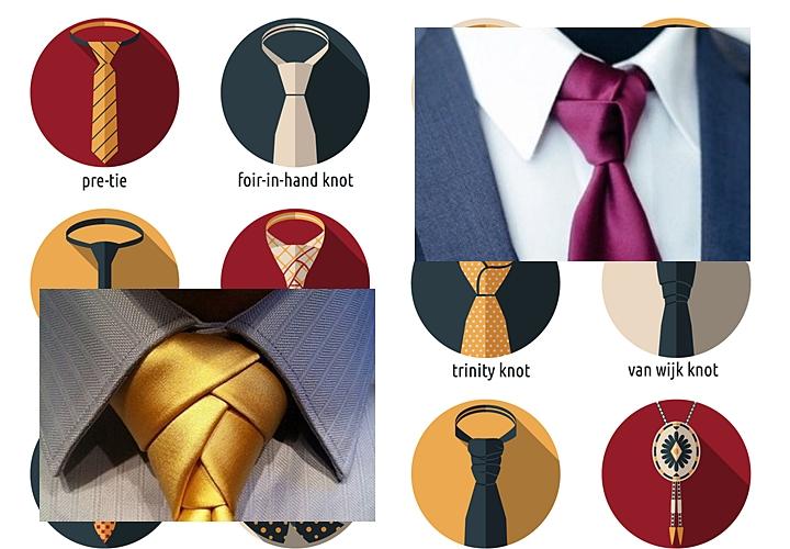 ネクタイの長さ,結び方で調整,トリニティーノット,エルドリッジノット
